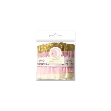 Baby Cream/Pink/Gold Crepe Paper Banner