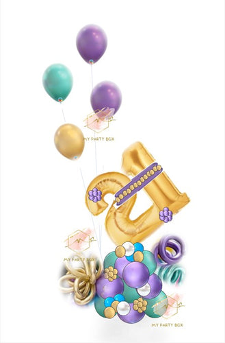 Gold Number with Purple Balloon Bouquet