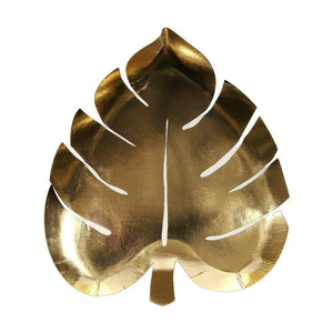 Gold Palm Leaf Plates PK8