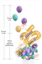 Load image into Gallery viewer, Gold Number with Purple Balloon Bouquet