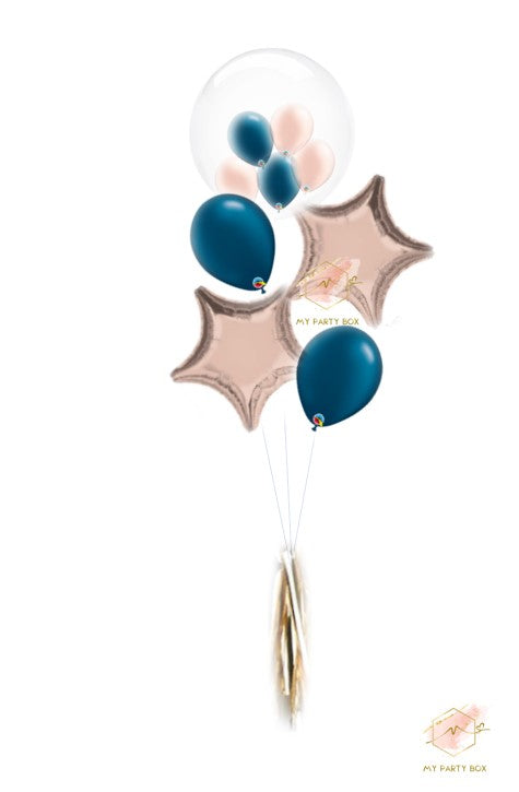 Bubble Gum Balloon Bouquet - Blue & Rose Gold