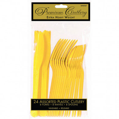 Yellow Plastic Cutlery Set 24PC