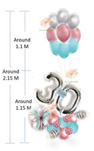 Load image into Gallery viewer, Silver Number Balloon Bouquet with Blue