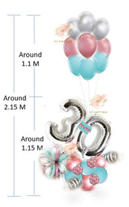 Silver Number Balloon Bouquet with Blue