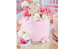 Happy Birthday Pink Foil Cake Topper