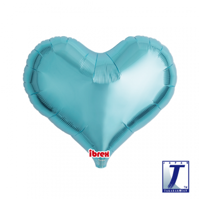 Metallic Light Blue Jelly Heart Foil Balloon (unpackaged)