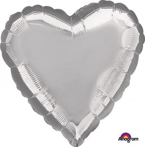 Metallic Silver Heart Foil Balloon