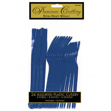Dark Blue Plastic Cutlery Set 24PC