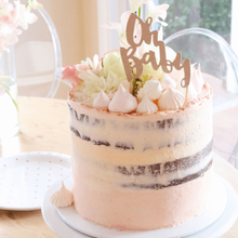 Load image into Gallery viewer, Oh Baby Rose Gold Glitter Cake Topper