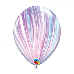 "11"" (28cm) Purple and White Marble Latex Balloon"