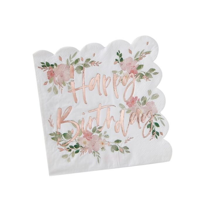 Ditsy Floral Happy Birthday Napkins (PK16)