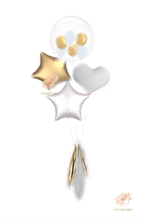 Bubble Gum Balloon Bouquet - Gold & White
