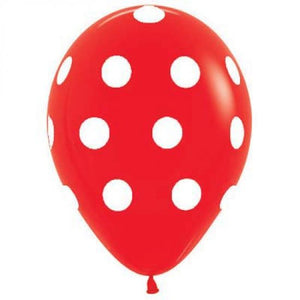 "11"" Big Polka Dots (Red ) Printed Latex Balloon"