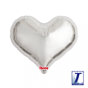 Metallic Silver Jelly Heart Foil Balloon (unpackaged)