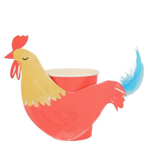 On the Farm Rooster Party Cups (PK8)