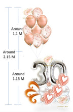Load image into Gallery viewer, Silver Number Balloon Bouquet with Rose Gold