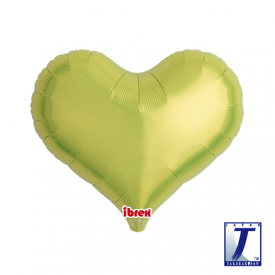 Metallic Lime Green Jelly Heart Foil Balloon (unpackaged)