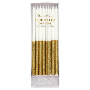 Dipped Glitter Candles Gold