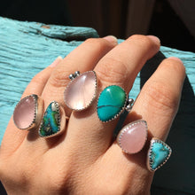 Load image into Gallery viewer, Rose quartz and Sonoran Gold turquoise double ring - size 6-7