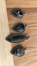 Load image into Gallery viewer, Shimmery Velvet obsidian necklace with handmade flower details
