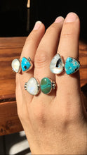 Load image into Gallery viewer, Moonstone and White Water turquoise DBL ring: size 7-7.5