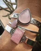 Load image into Gallery viewer, Simple rose quartz cuff - size S/M