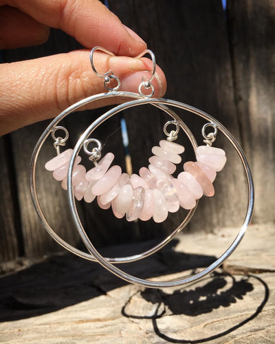 Rose quartz bead hoop earrings