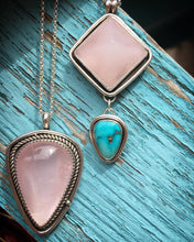 Load image into Gallery viewer, Rose quartz pyramid with Sierra Nevada turquoise necklace