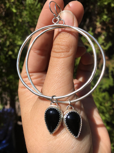 Black onyx hoop earrings