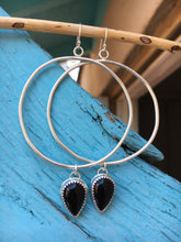 Load image into Gallery viewer, Black onyx hoop earrings