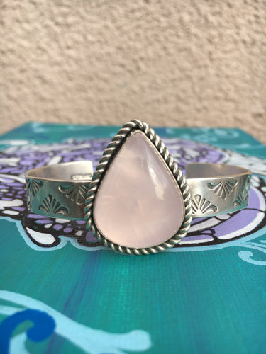 Stamped rose quartz cuff - size S/M