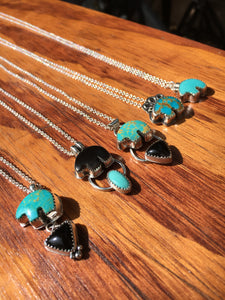 Osito Necklace #1 - Bright blue turquoise with black onyx