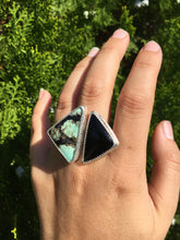 Load image into Gallery viewer, Saguaro variscite and black onyx ring - size 9-10
