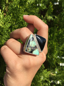 Saguaro variscite and black onyx ring - size 9-10