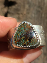 Load image into Gallery viewer, Wide stamped band Sky Song turquoise ring - size 9-9.5