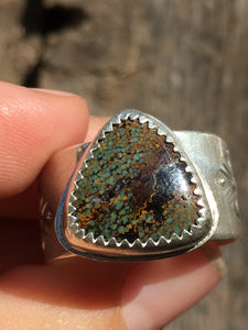 Wide stamped band Sky Song turquoise ring - size 9-9.5