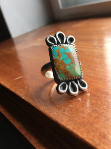 Polychrome Kingman turquoise rectangle ring - size 7.75