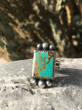 Load image into Gallery viewer, Teal Kingman turquoise rectangle ring
