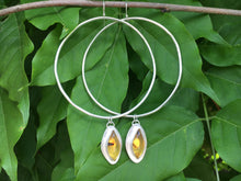 Load image into Gallery viewer, Marquis cut Mexican amber Hoops
