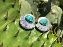 Load image into Gallery viewer, Sonoran Gold turquoise fan earrings