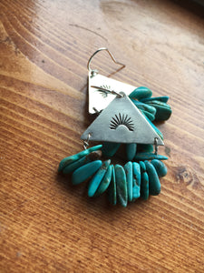 Stamped triangle earrings with turquoise beads