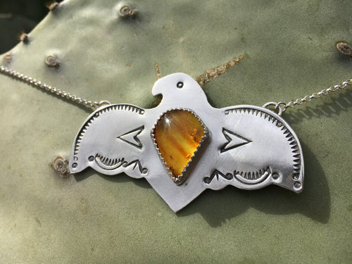 Stamped Eagle necklace with amber