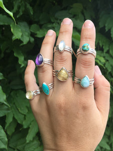 Moonstone stacker ring set - size 6.5