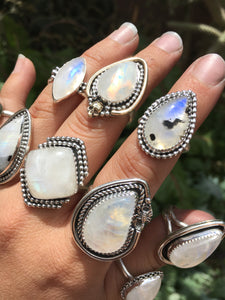 Moonstone with Black Tourmaline ring - size 7