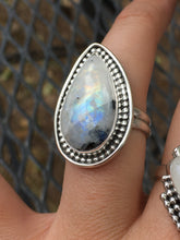Load image into Gallery viewer, Long teardrop moonstone (rainbow flash+black tourmaline) ring - size 8.5