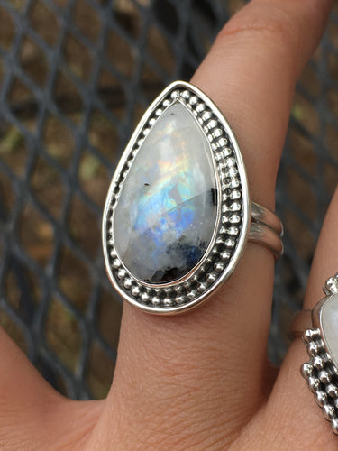 Long teardrop moonstone (rainbow flash+black tourmaline) ring - size 8.5