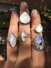 Load image into Gallery viewer, Plump Moonstone Pear ring with Chain detail - size 7.5