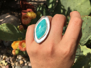 Amazonite oval ring - size 6.5