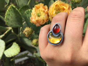 Mexican amber moon and red garnet ring - size 6.5