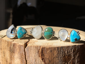 Moonstone and White Water turquoise DBL ring - size 6-6.5